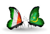 Butterflies with Ireland and  Mauritania flags on wings — ストック写真