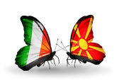 Farfalle con bandiere italia e macedonia sulle ali — Foto Stock