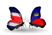 Butterflies with Costa Rica and Liechtenstein flags on wings — Zdjęcie stockowe