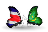 Butterflies with Costa Rica and Mauritania flags on wings — Stock Photo