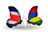 Butterflies with Costa Rica and Mauritius flags on wings — Foto Stock