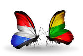Butterflies with Luxembourg and  Lithuania flags on wings — Foto Stock