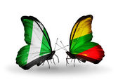Butterflies with Nigeria and Lithuania flags on wings — Foto Stock