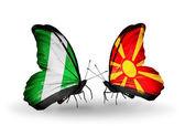 Farfalle con bandiere in nigeria e macedonia sulle ali — Foto Stock