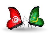 Butterflies with Tunisia and Mauritania flags on wings — Stock Photo