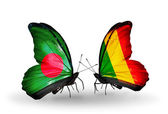 Butterflies with Bangladesh and Mali flags on wings — ストック写真
