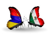 Butterflies with Armenia and  Mexico flags on wings — Foto Stock
