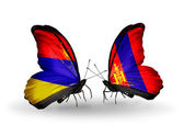 Butterflies with Armenia and  Mongolia flags on wings — Stock Photo