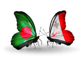 Butterflies with Bangladesh and Malta flags on wings — Foto Stock
