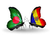 Butterflies with Bangladesh and Moldova flags on wings — Foto Stock