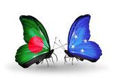 Butterflies with Bangladesh and Micronesia flags on wings — Foto Stock