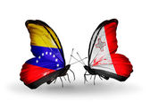 Butterflies with Venezuela and Malta flags on wings — ストック写真