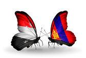 Butterflies with Yemen and  Mongolia flags on wings — Zdjęcie stockowe