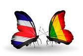 Farfalle con costa rica e bandiere del mali sulle ali — Foto Stock