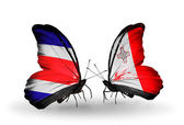 Butterflies with Costa Rica and Malta flags on wings — Zdjęcie stockowe