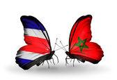 Farfalle con costa rica e bandiere marocco sulle ali — Foto Stock