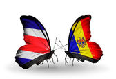 Butterflies with Costa Rica and Moldova flags on wings — Zdjęcie stockowe