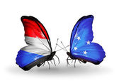 Butterflies with Luxembourg and  Micronesia flags on wings — Stock Photo