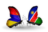Butterflies with Armenia and  Namibia flags on wings — Stock Photo