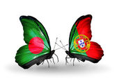 Butterflies with Bangladesh and Portugal flags on wings — Stock Photo