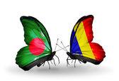 バングラデシュ、チャド、翼上のルーマニアのフラグと蝶 — ストック写真