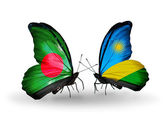 Butterflies with Bangladesh and Rwanda flags on wings — 图库照片