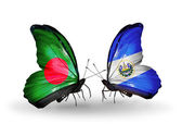 Butterflies with Bangladesh and Salvador flags on wings — 图库照片