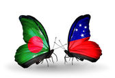 翼にバングラデシュとサモアのフラグと蝶 — ストック写真