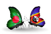 Butterflies with Bangladesh and Swaziland flags on wings — Stock Photo