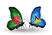 Butterflies with Bangladesh and Saint Lucia flags on wings — Stock Photo