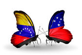 Butterflies with Venezuela and Samoa flags on wings — 图库照片