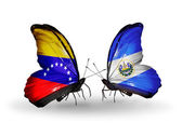 Butterflies with Venezuela and Salvador flags on wings — Stock Photo