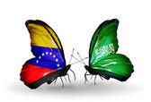 Butterflies with Venezuela and  Saudi Arabia flags on wings — ストック写真