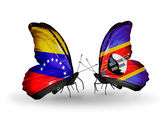 Butterflies with Venezuela and Swaziland flags on wings — 图库照片