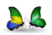 Butterflies with Gabon and Saudi Arabia flags on wings — 图库照片