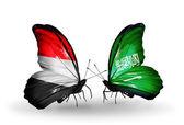 Butterflies with Yemen and  Saudi Arabia flags on wings — ストック写真