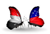 Butterflies with Yemen and  Samoa flags on wings — 图库照片