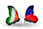 Butterflies with Ireland and Samoa flags on wings — Stock Photo