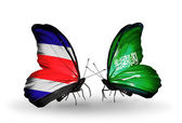 翼に、コスタリカとサウジアラビアのフラグと蝶 — ストック写真
