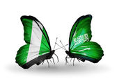 Butterflies with Nigeria and Saudi Arabia flags on wings — 图库照片