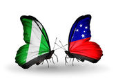 Butterflies with Nigeria and Samoa flags on wings — 图库照片