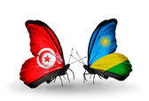 Butterflies with Tunisia and Rwanda flags on wings — Stock Photo