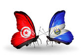 Butterflies with Tunisia and Salvador flags on wings — Stock Photo