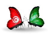 蝶翼にチュニジア、サウジアラビアの旗 — ストック写真
