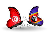 Butterflies with Tunisia and Swaziland flags on wings — 图库照片
