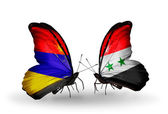 Butterflies with Armenia and  Syria flags on wings — ストック写真