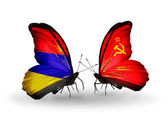 Butterflies with Armenia and  Soviet Union flags on wings — Stock Photo
