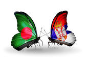 Butterflies with Bangladesh and Serbia flags on wings — Stock Photo