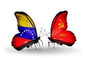 蝶翼にベネズエラそしてソビエト連邦の旗 — ストック写真
