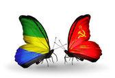 蝶翼にガボンそしてソビエト連邦の旗 — ストック写真